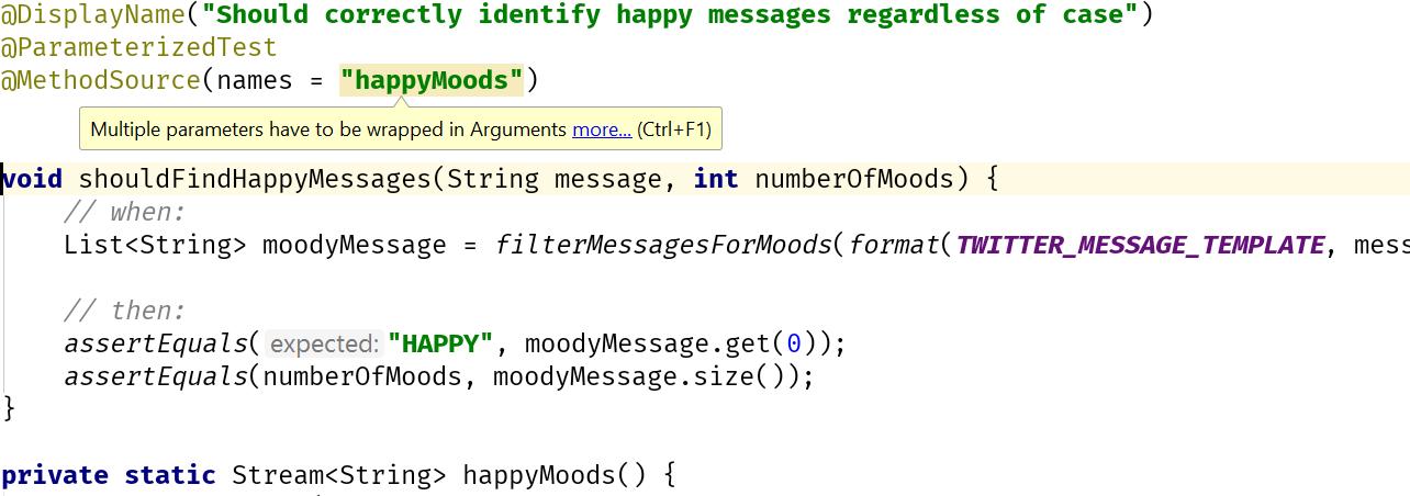 Incorrect method source type