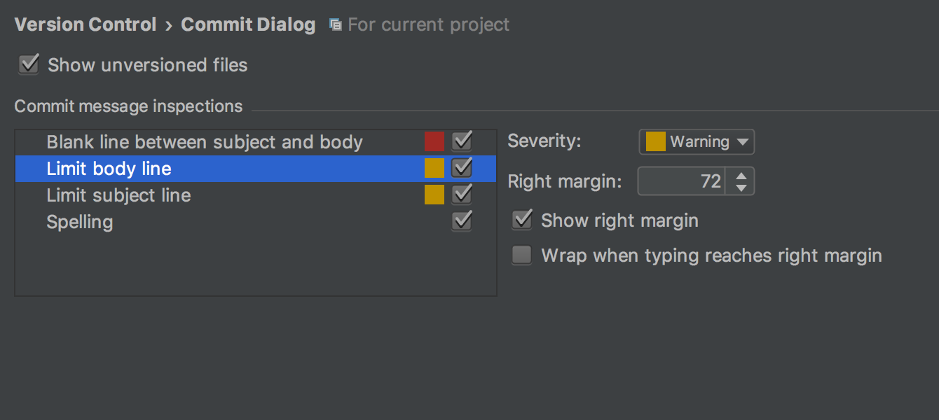 Commit dialog inspections