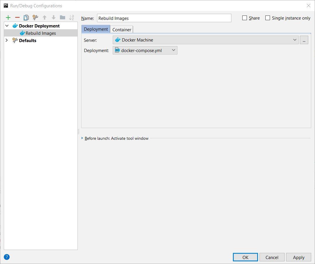 Docker Compose Run Configuration in PyCharm