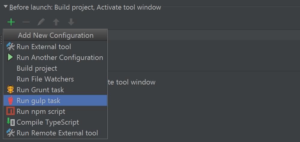 Add an action to run before launching run/debug configuration