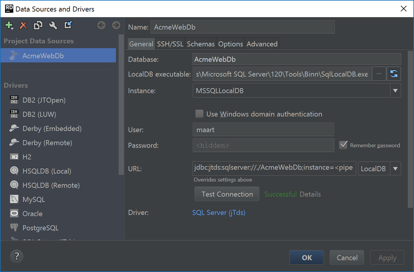Create SQL Server LocalDB connection using jTDS