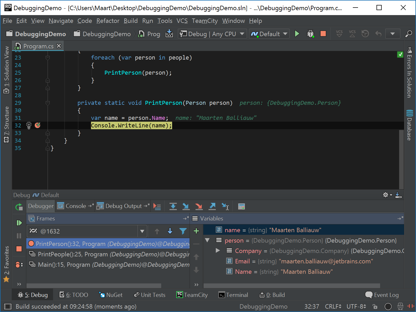 Overview of the debugger tool window after hitting a breakpoint