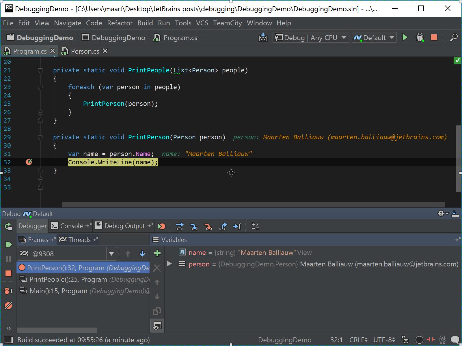 Using DebuggerDisplayAttribute to visualize a variable in the debugger