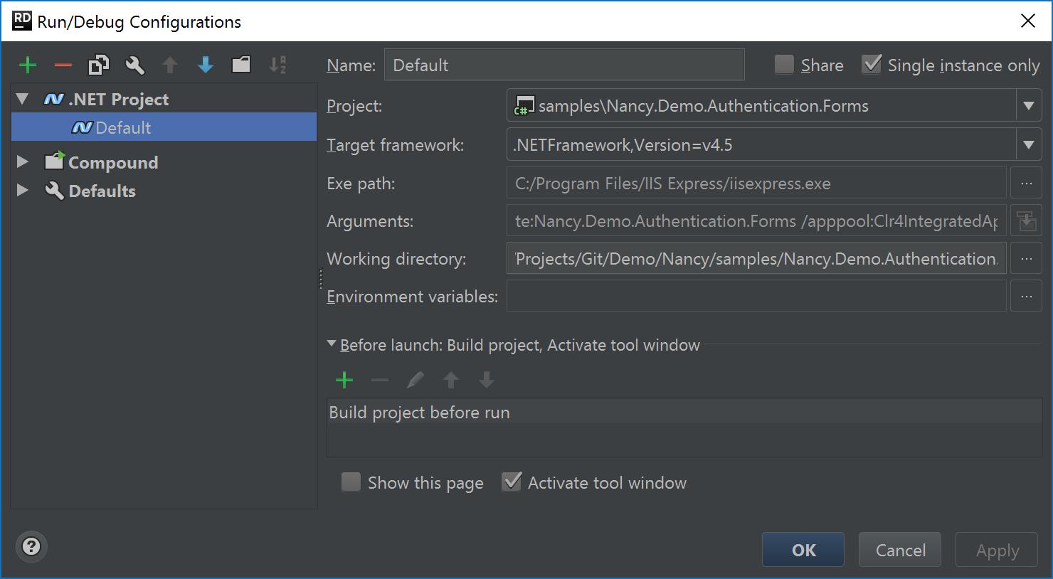 Default run/debug configuration in Rider