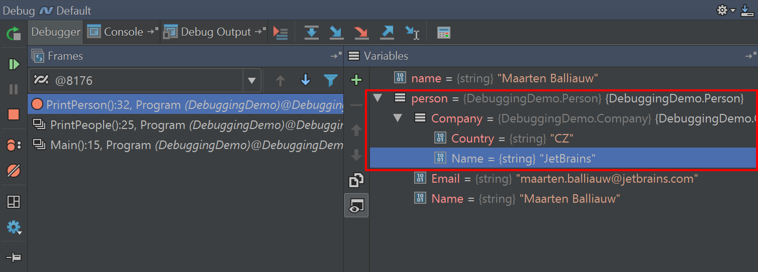 Expand variable in Debug tool window