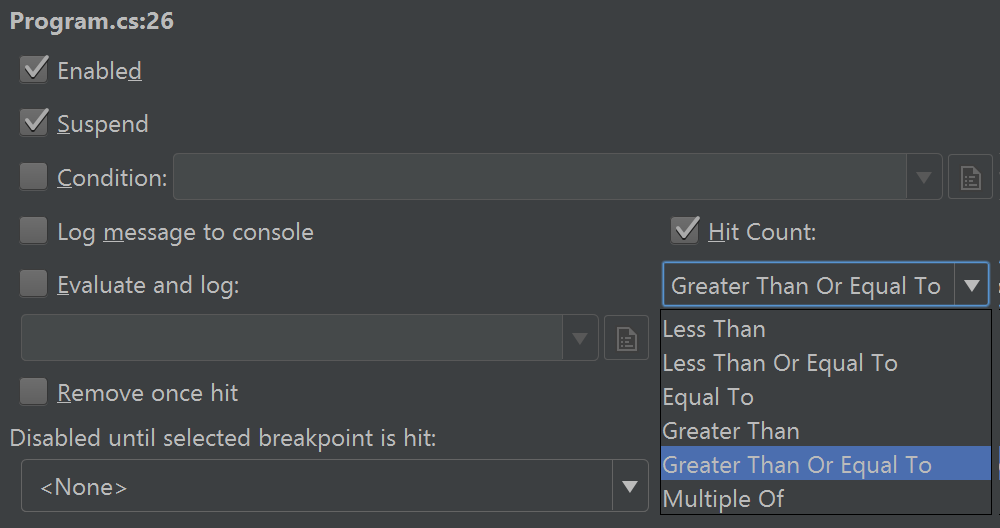 Breakpoint hit count filter