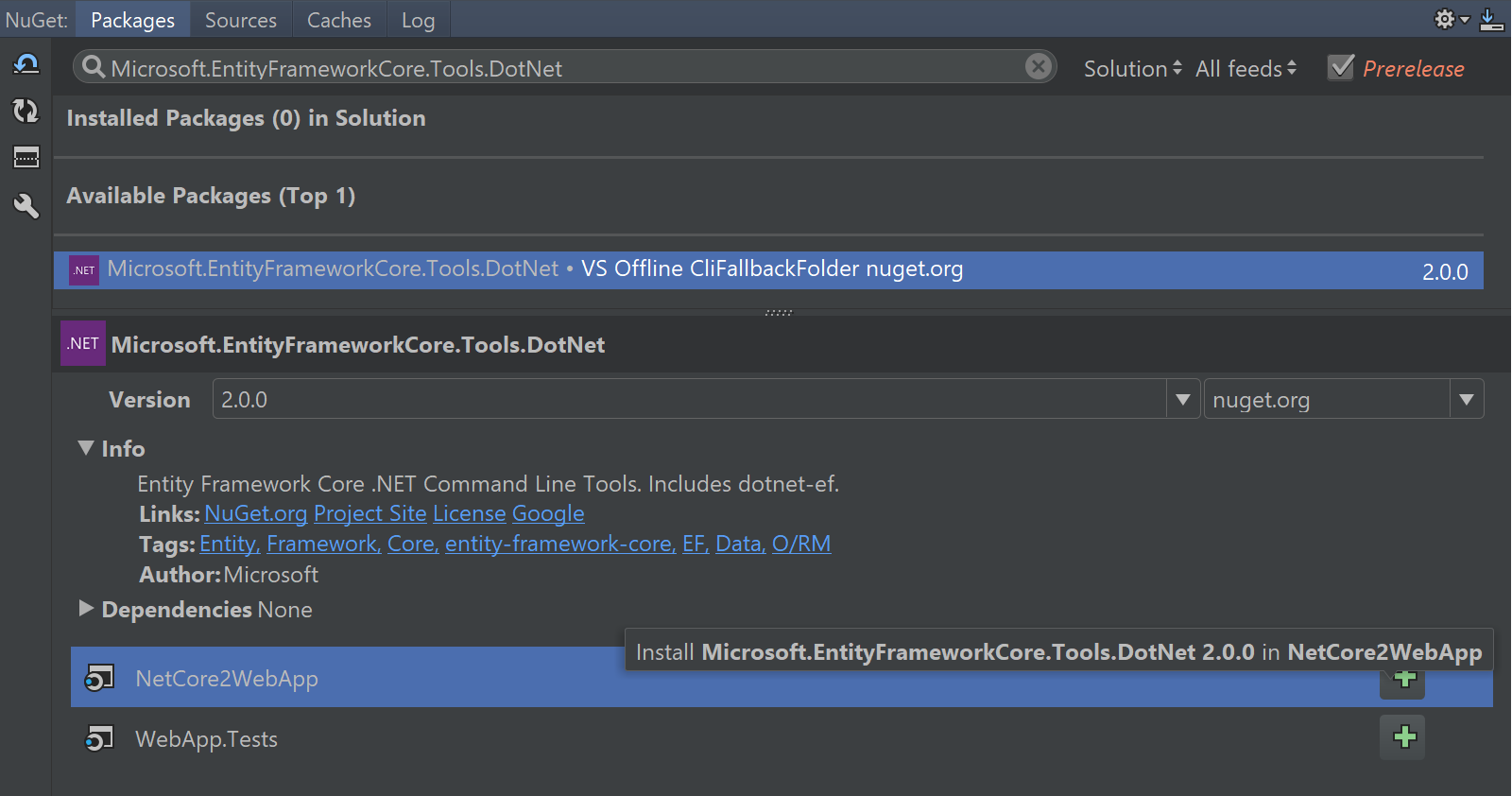 Install .NET Core tools package