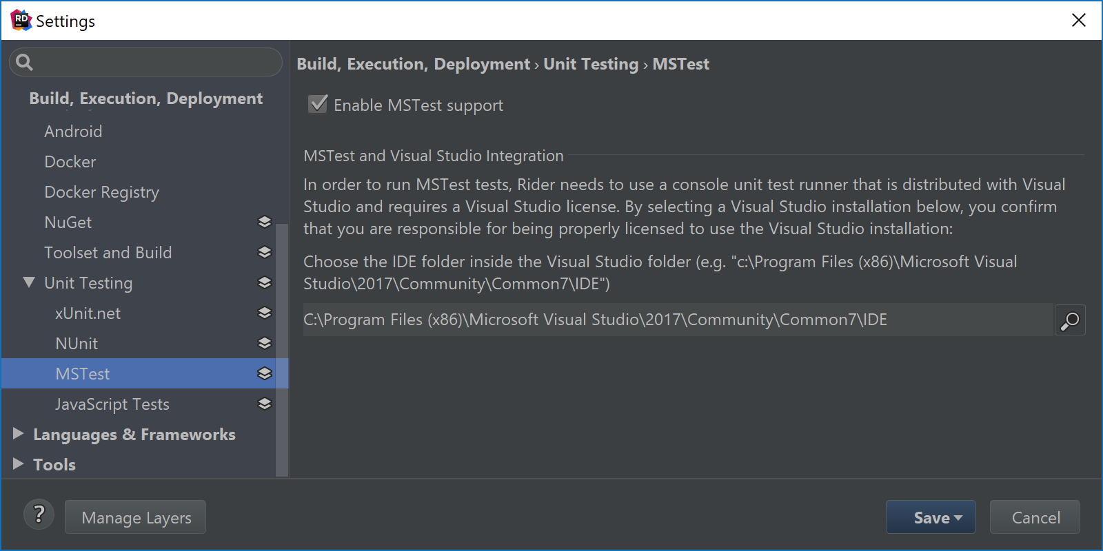 Configure path to Visual Studio to enable MSTest V1 support