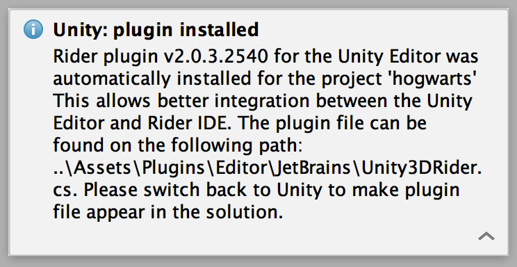 Unity plugin installed notification
