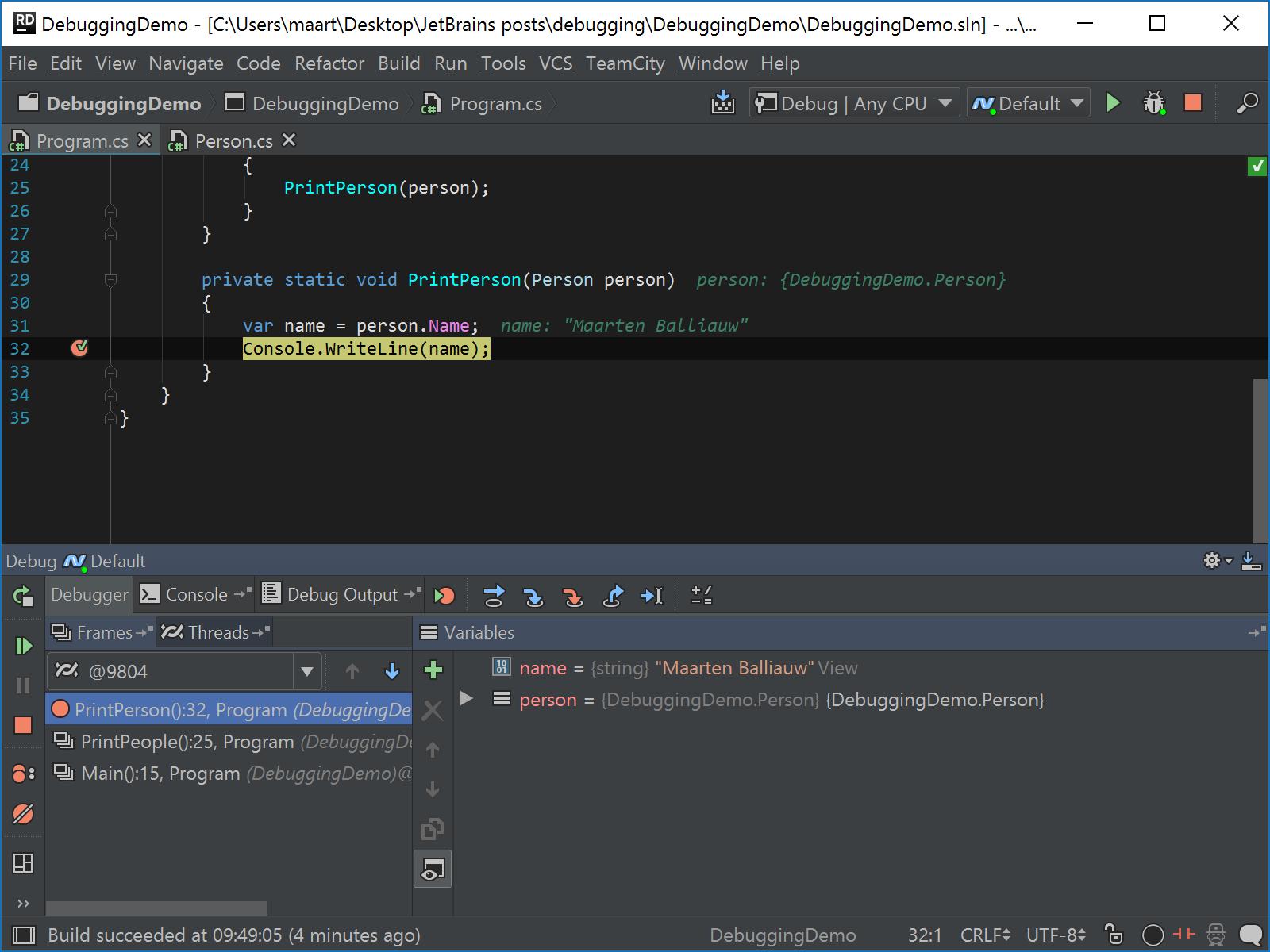 Set vakue from debug tool window
