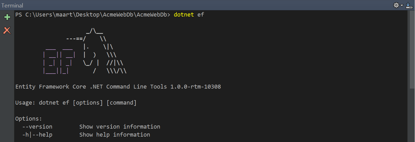 Usign Rider terminal to run Entity Framework command line tools
