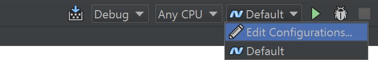 Edit run/debug configuration toolbar