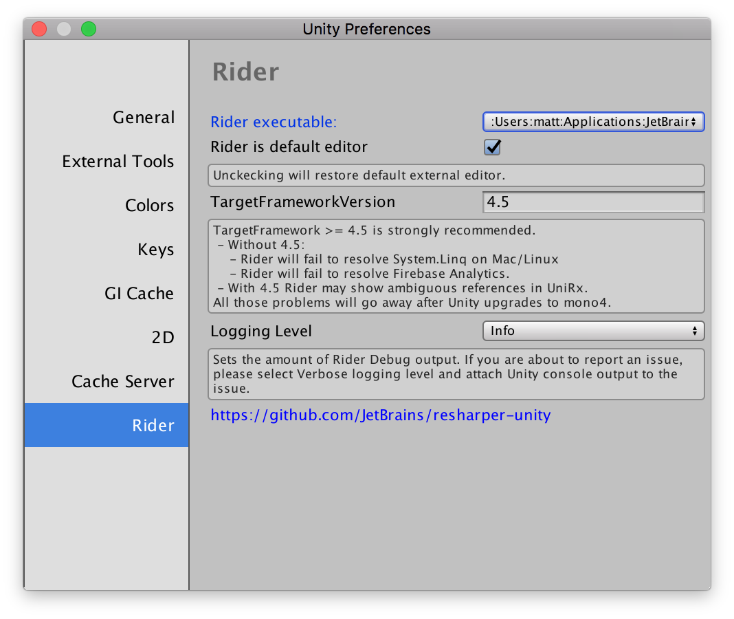 Rider preferences page in Unity