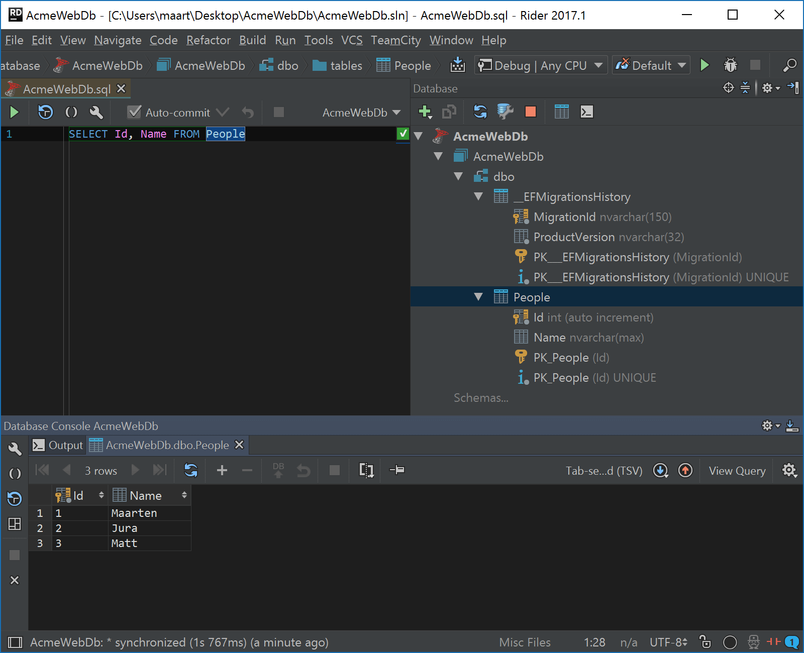 Rider database tools in action