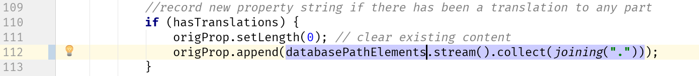 Use databasePathElements to set the StringBuffer
