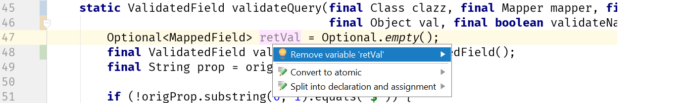 Remove retVal