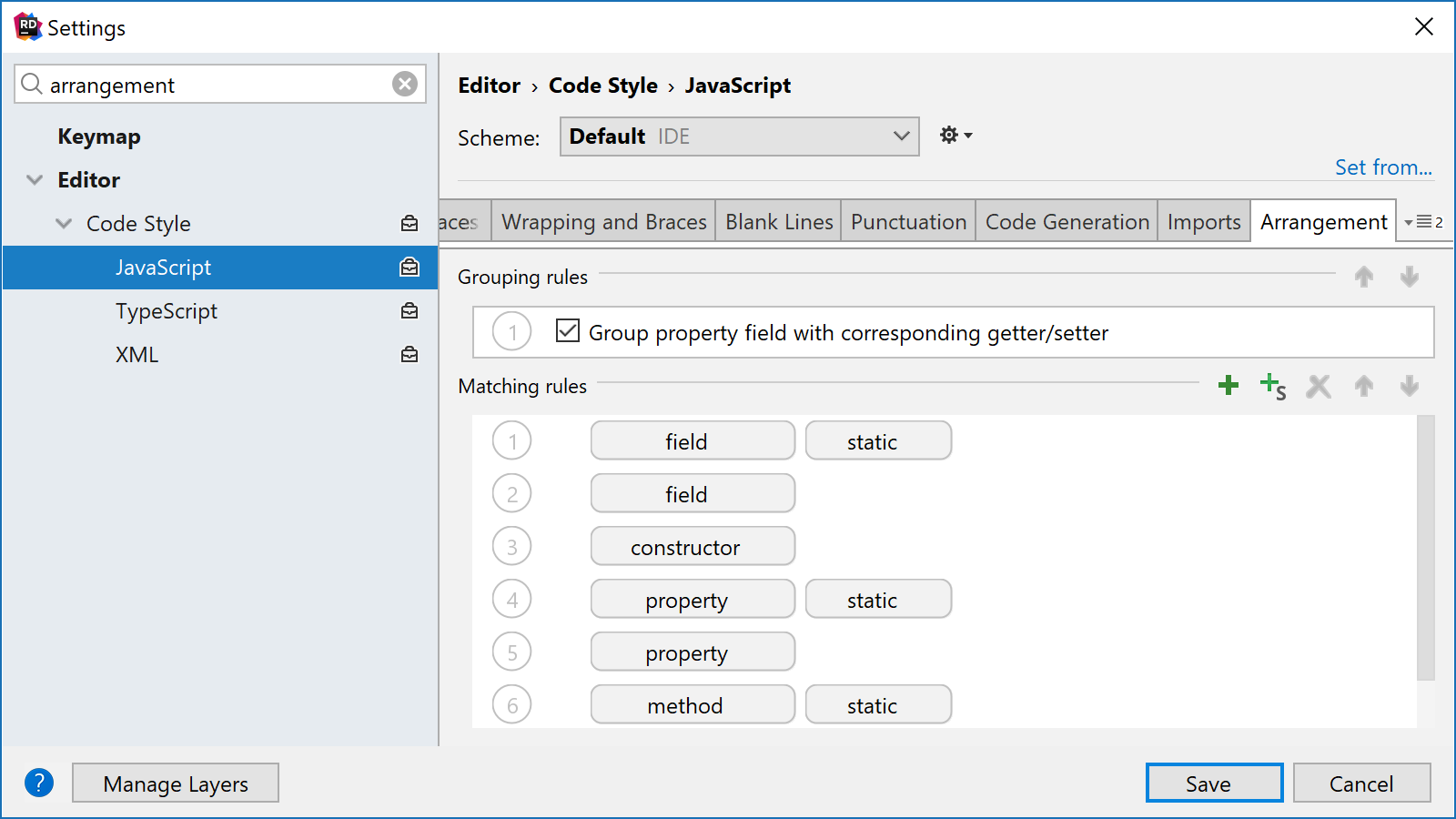 JavaScript and TypeScript class members arrangement