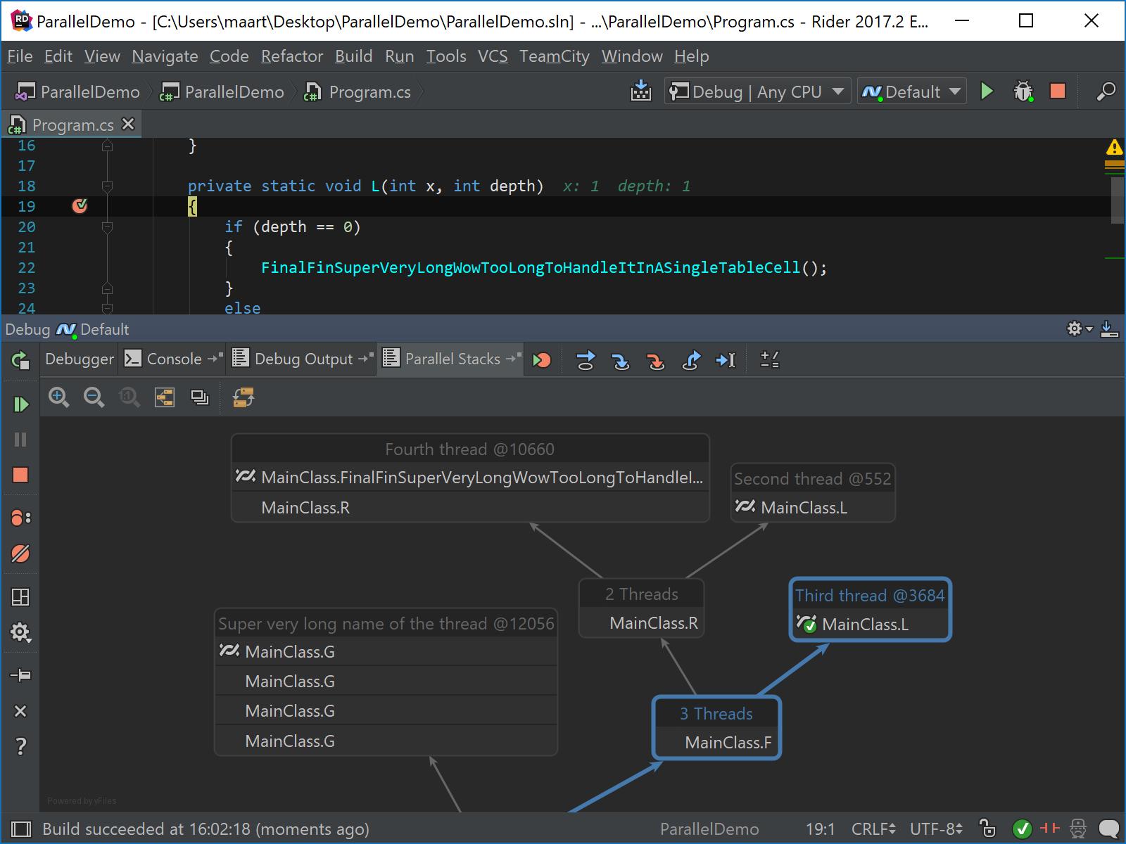 Parallel Stacks debugging in action