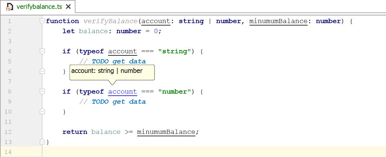 TypeScript type hints