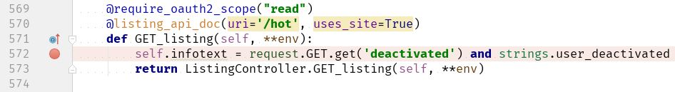 Set a breakpoint on line 572 in listingcontroller.py