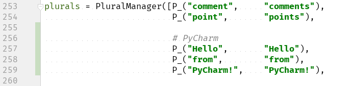 Add Hello, from, PyCharm! to the plurals list