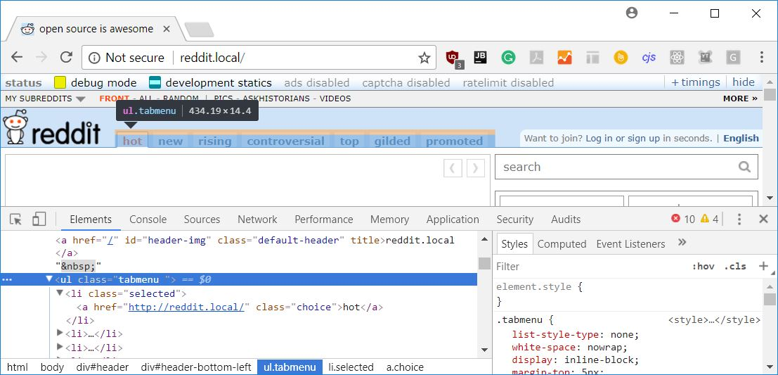 Using the Chrome inspector to see the generated HTML