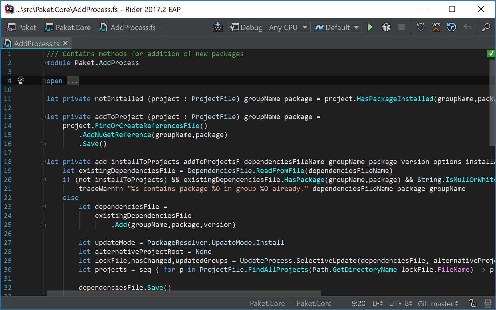 F# code folding in editor