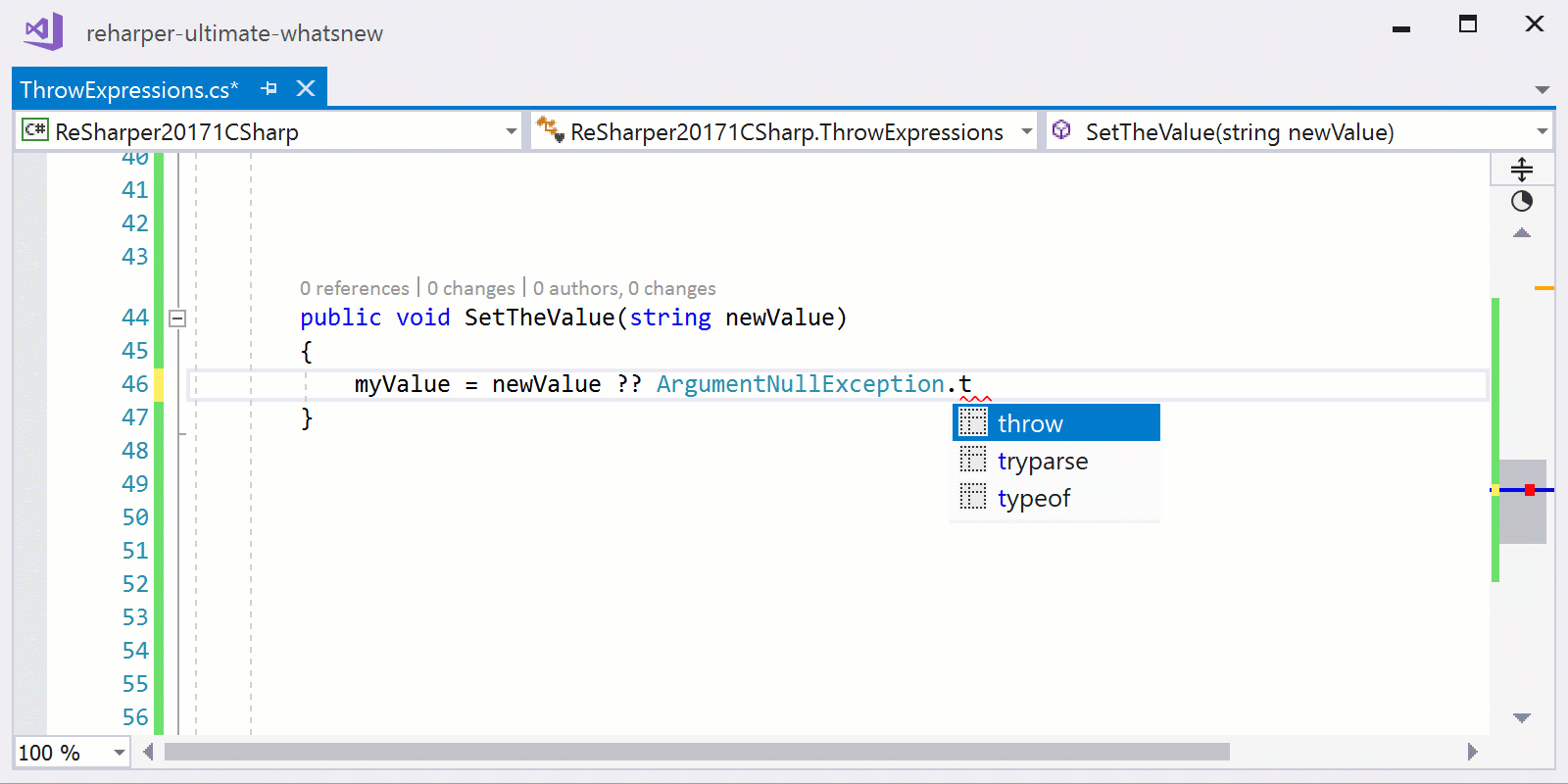 Throw postfix template supports throw expression