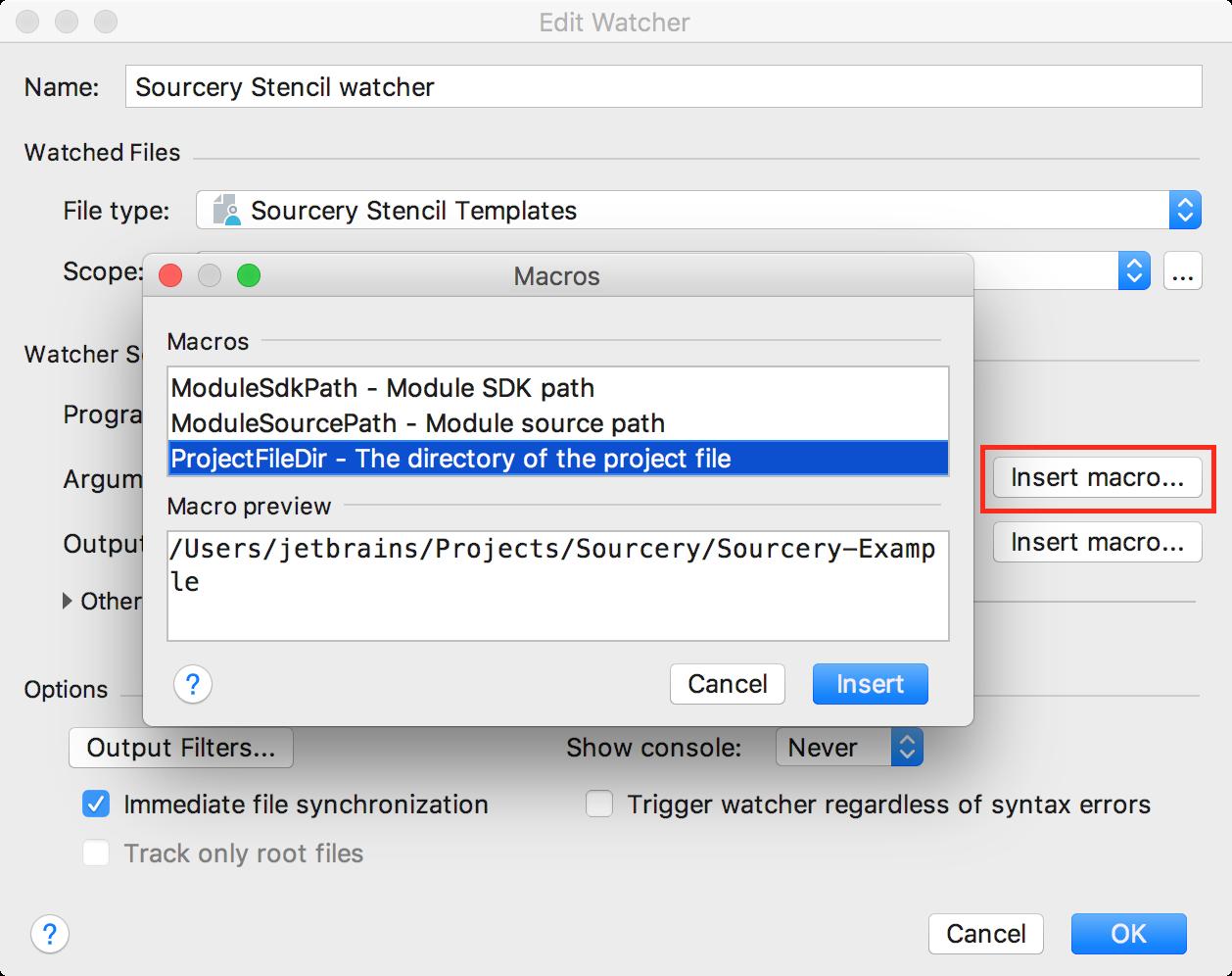 File Watcher Macros setup
