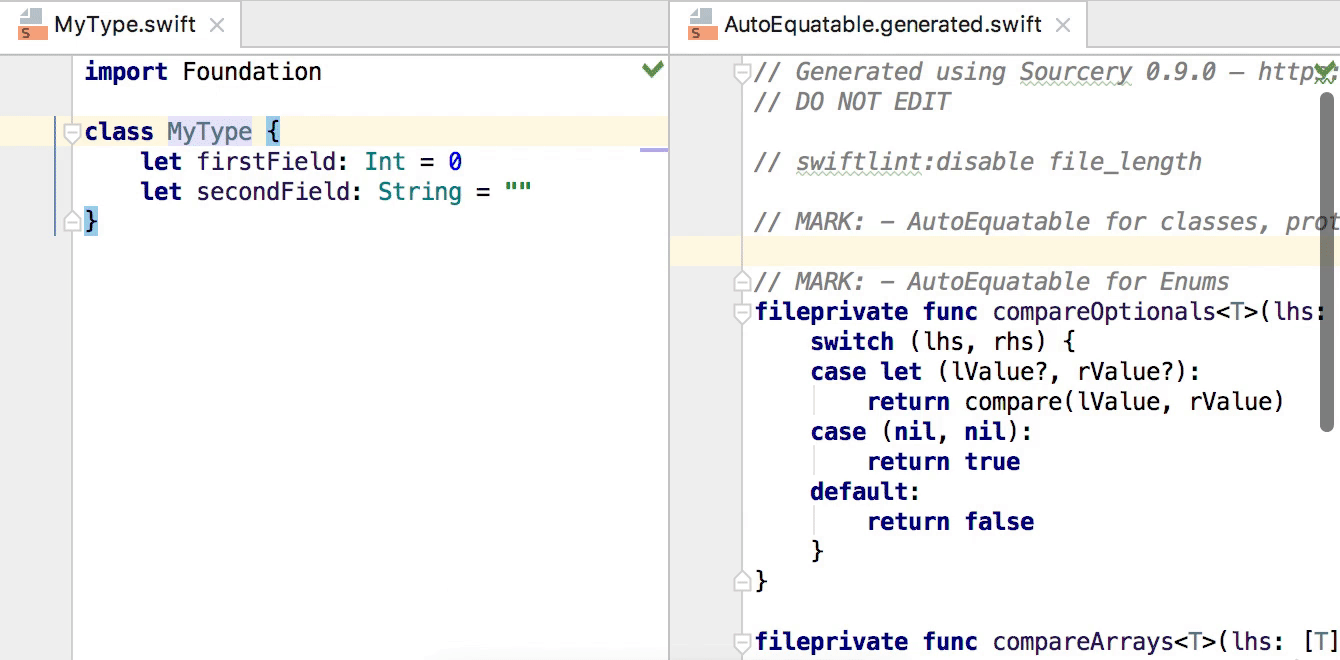 Sourcery in action in Swift