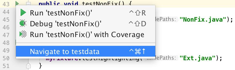Navigate to test data popup menu