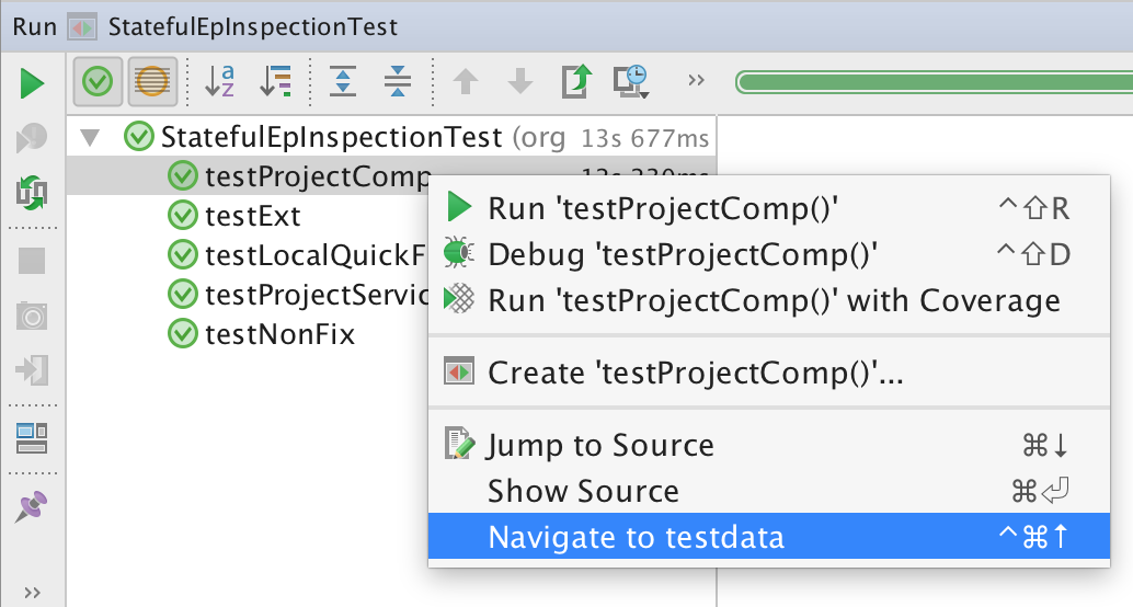 Navigate to testdata from Run Tests window
