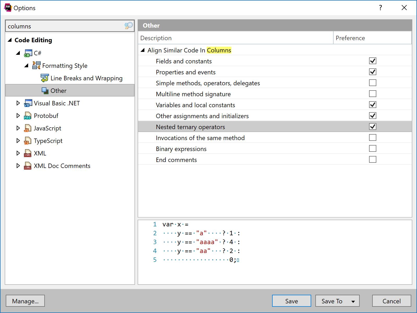Align code in columns