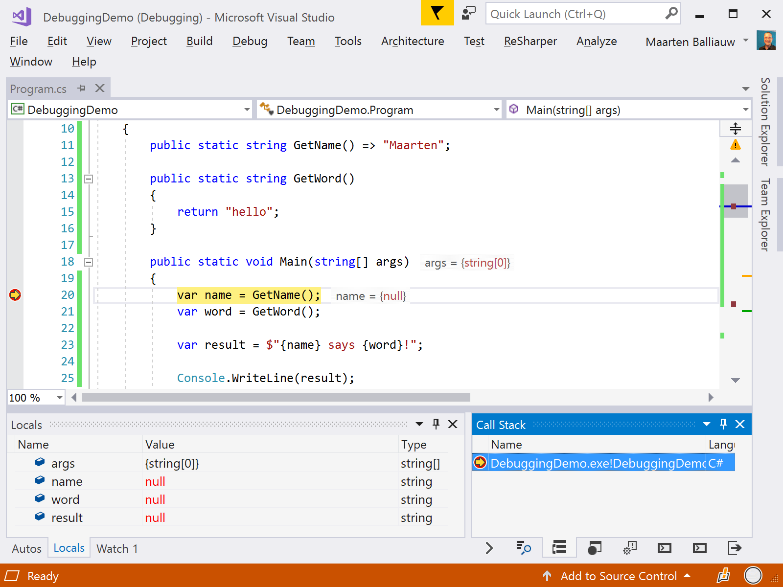 Display variables from debugger in the editor