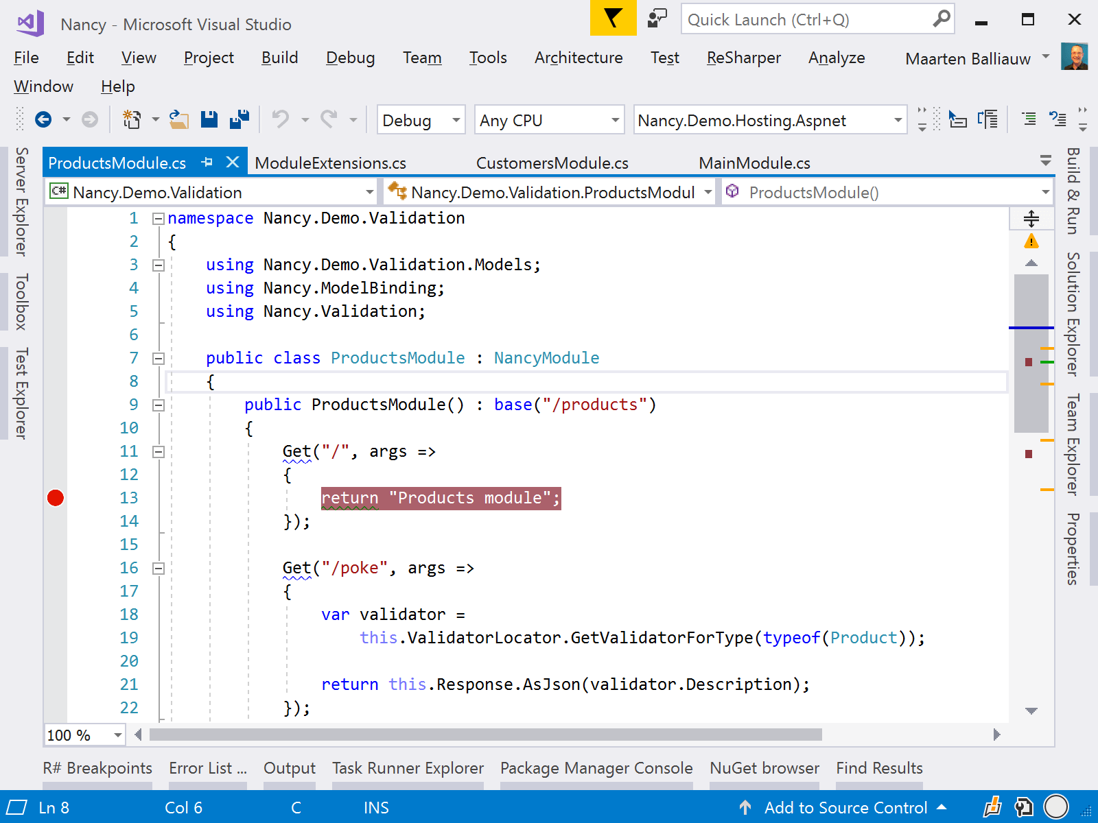 Navigate to breakpoint in solution using ReSharper
