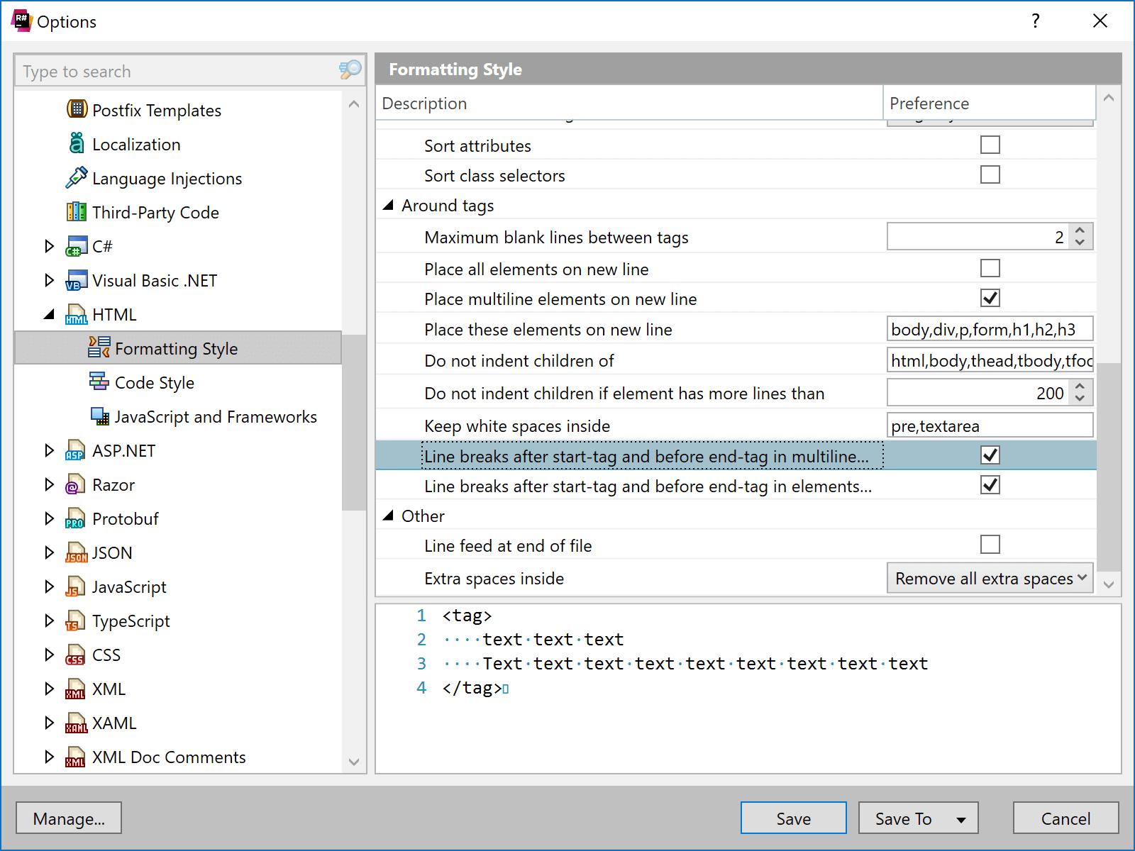 Configure HTML linebreaks for multiline elements