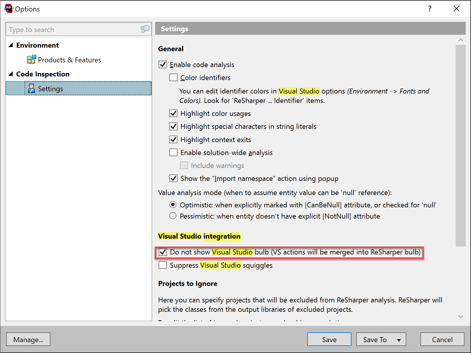 Visual Studio integration settings in ReSharper