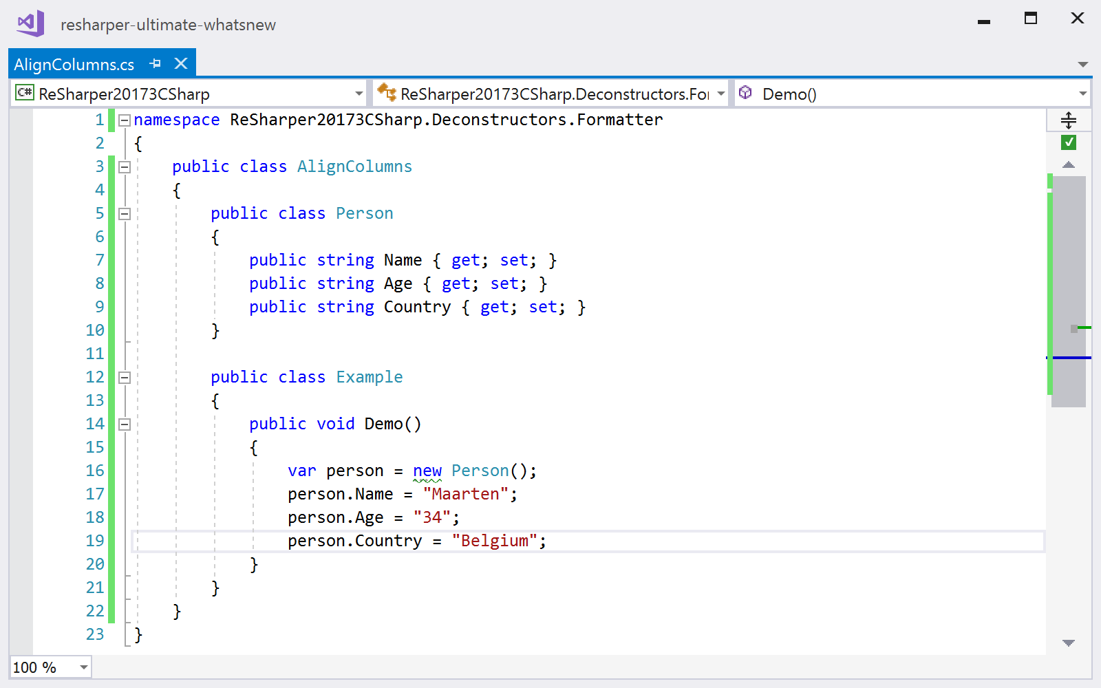 Reformat code in columns