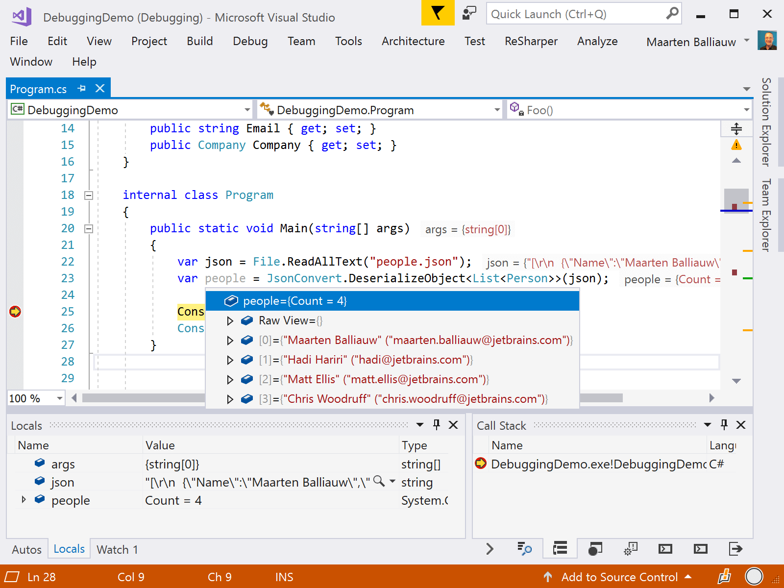 Searchable DataTips in the debugger