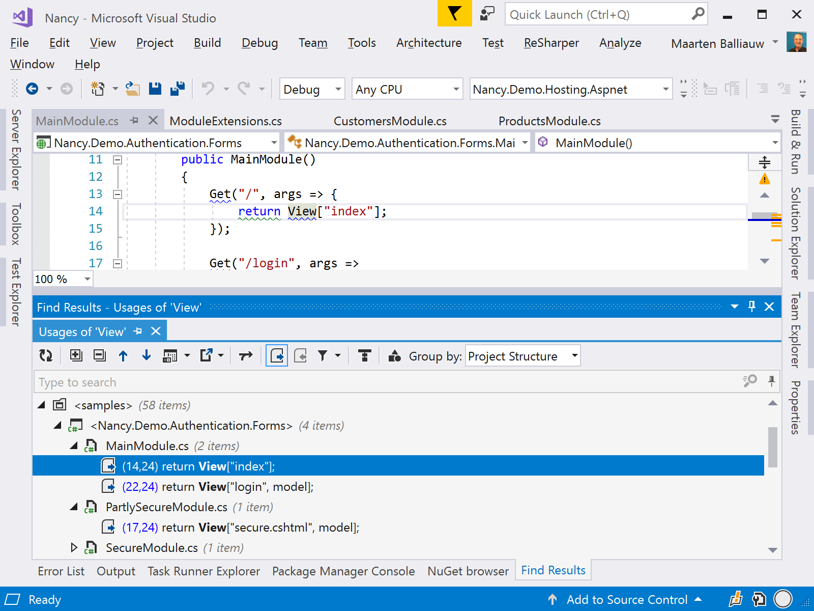 Setting breakpoints from Find Results tool window