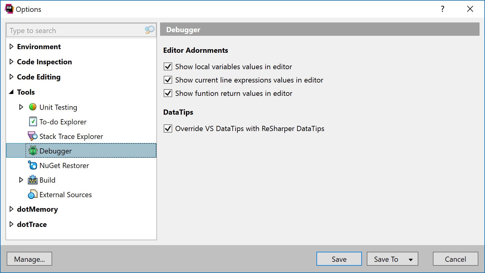Configugre debugging tools settings