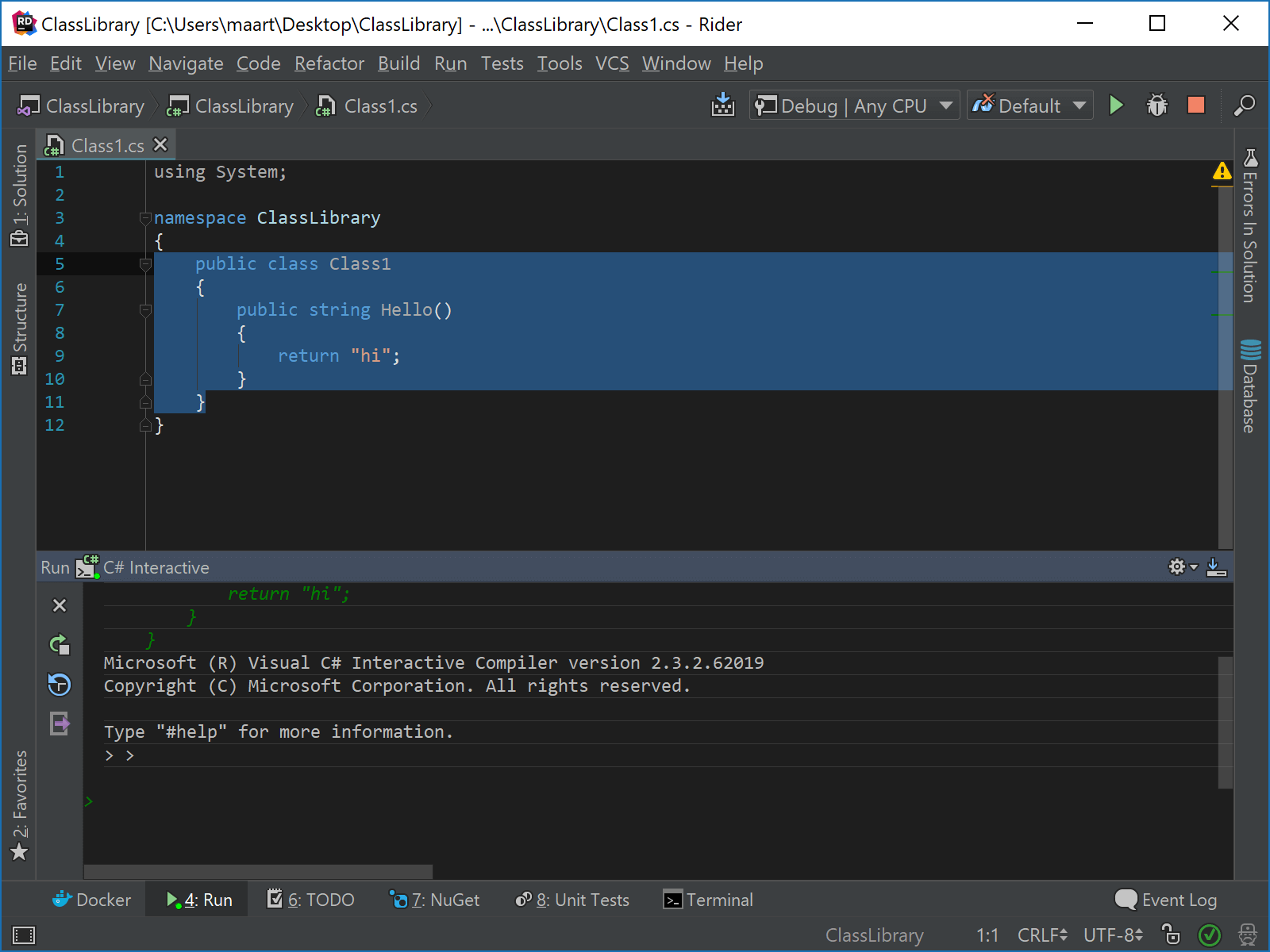 Using CSharp REPL in Rider