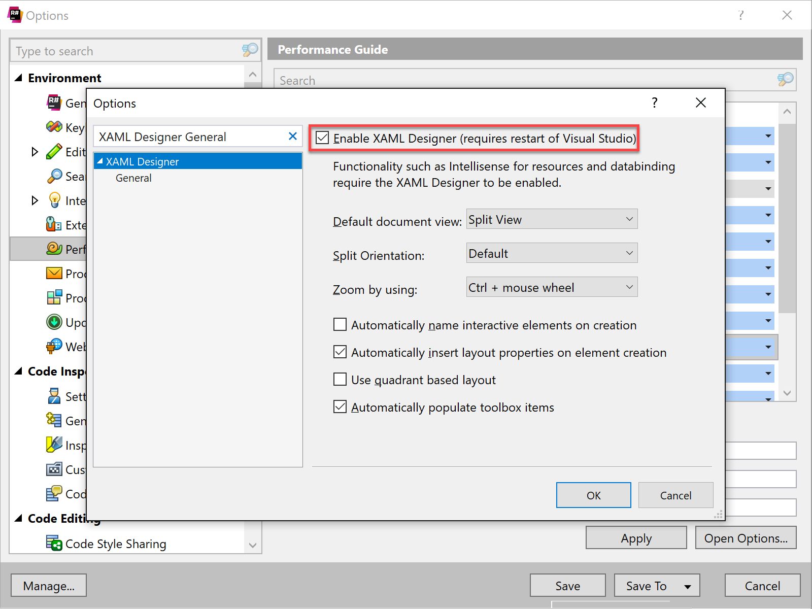 XAML Designer is enabled in in Visual Studio options