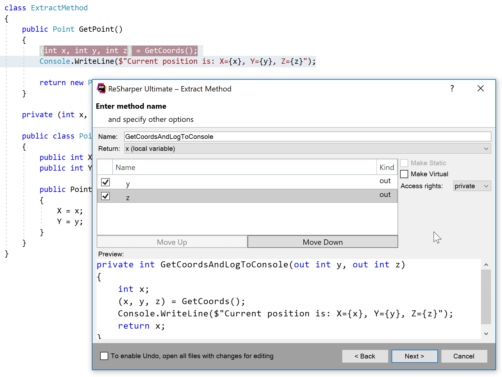 Extract Method respects C# 7.0 syntax options
