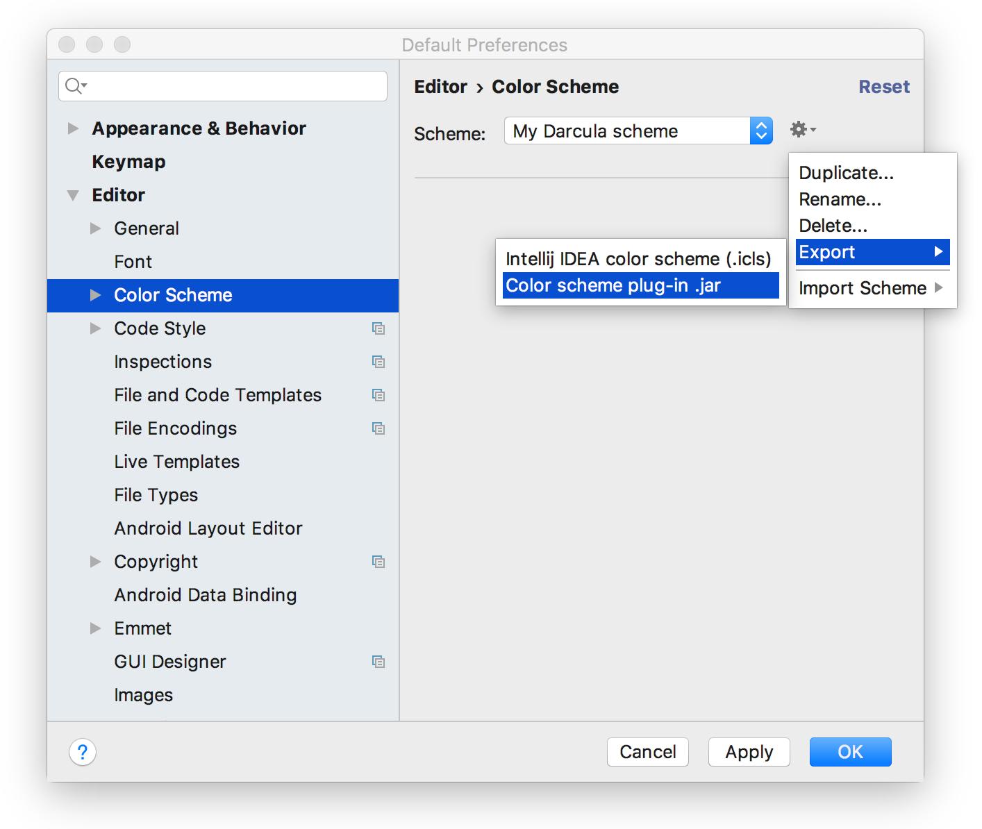 Export colours as plugin jar file