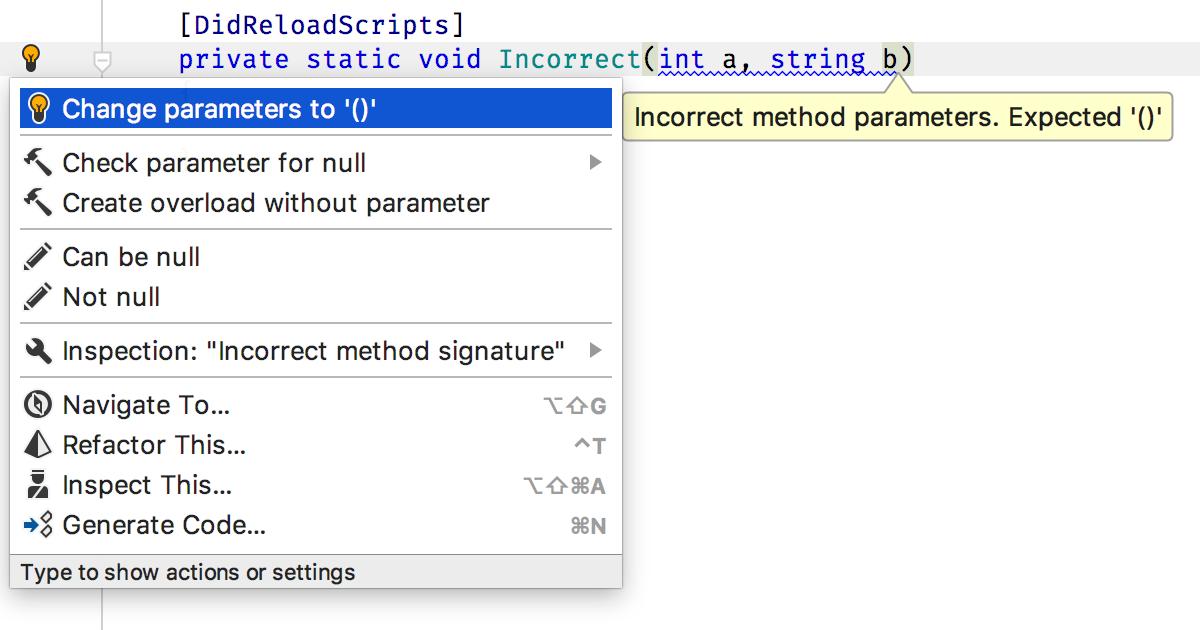 Incorrect method signature inspection