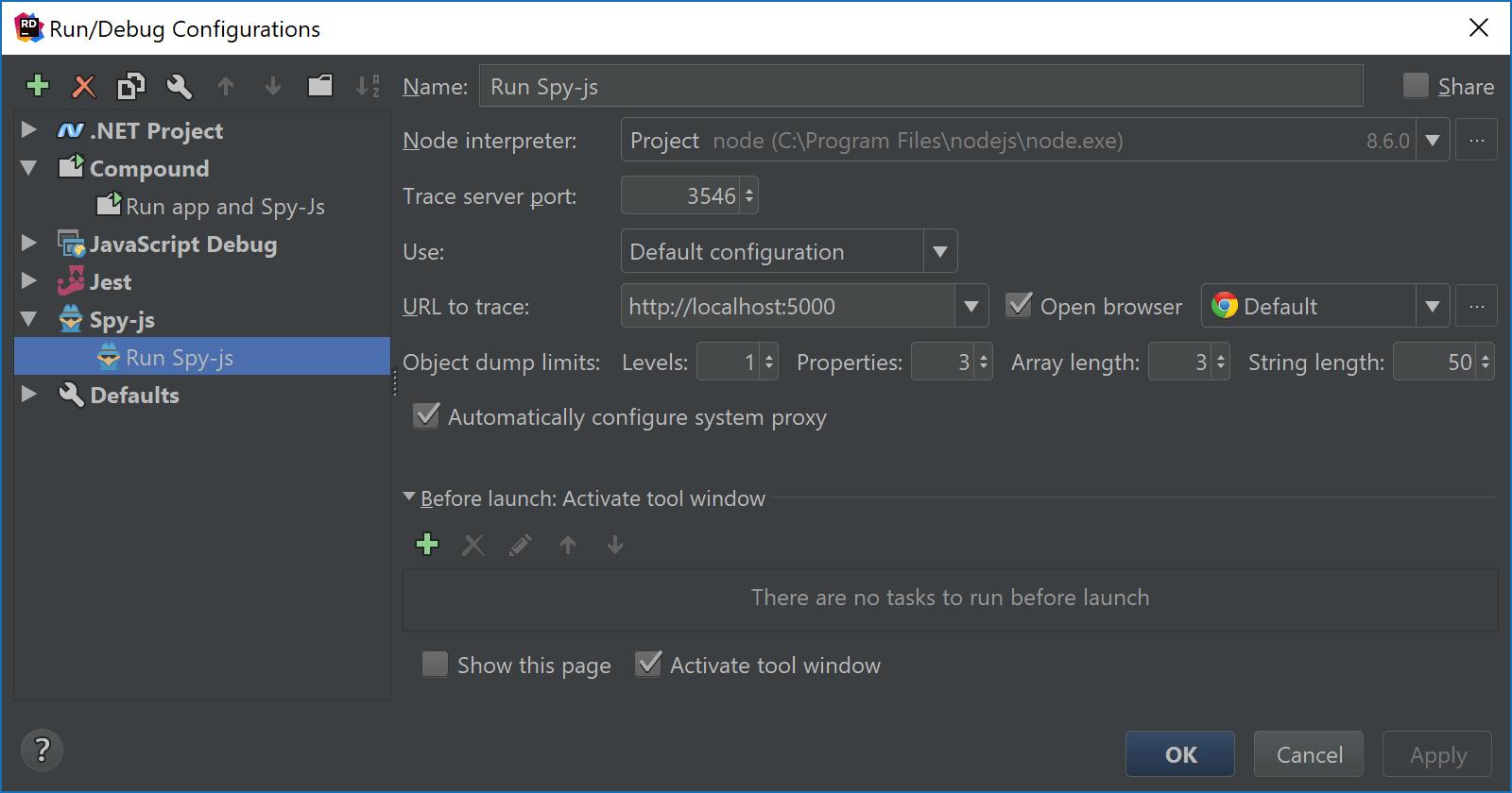 Spy-js Run/Debug configuration