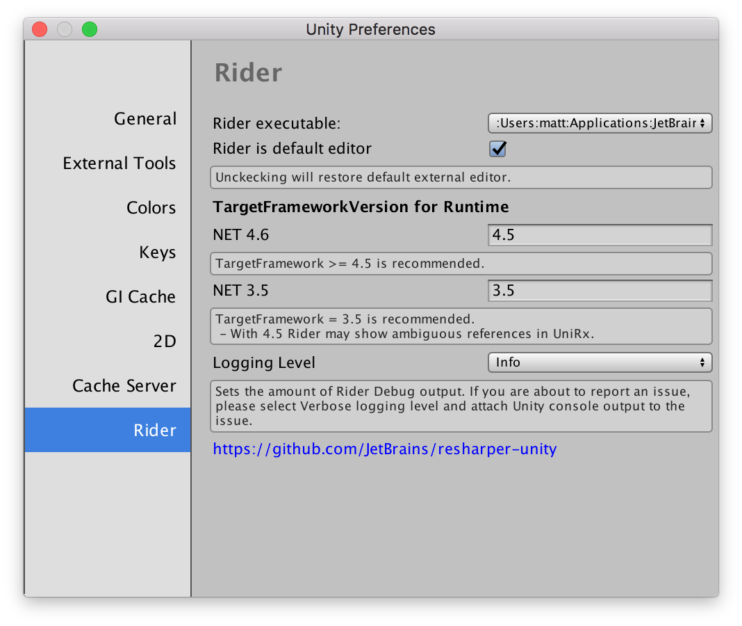 Rider page in Unity preferences