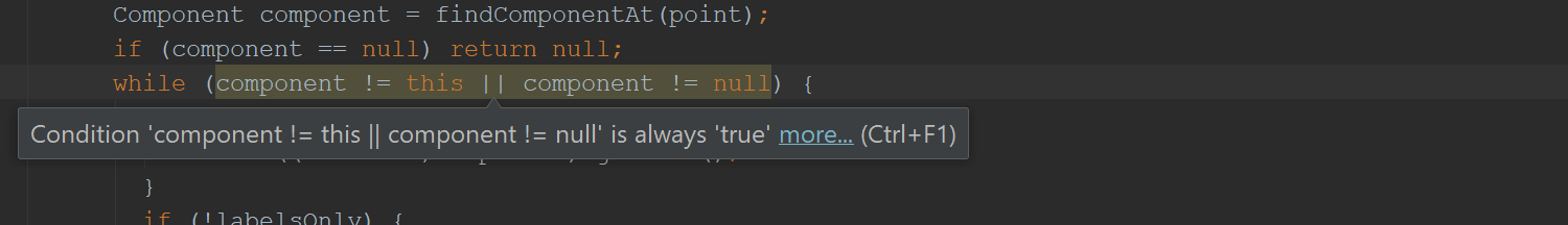 while (component != this || component != null)