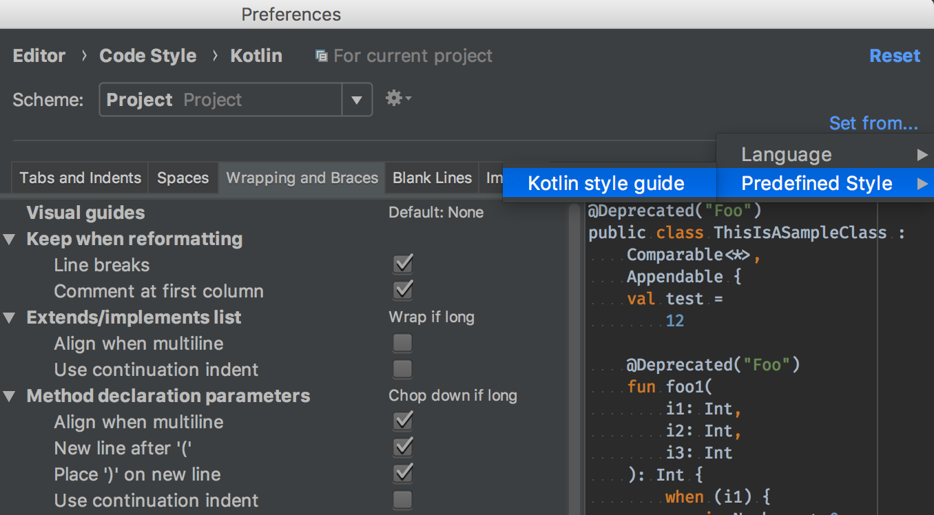 Kotlin code style settings